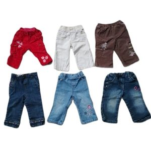 Lot of 6 Baby Girl's Pants, 12m, Mixed Brands